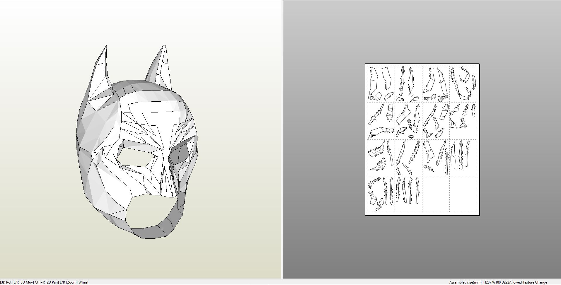 Papercraft Pdo File Template For Batman Cowl