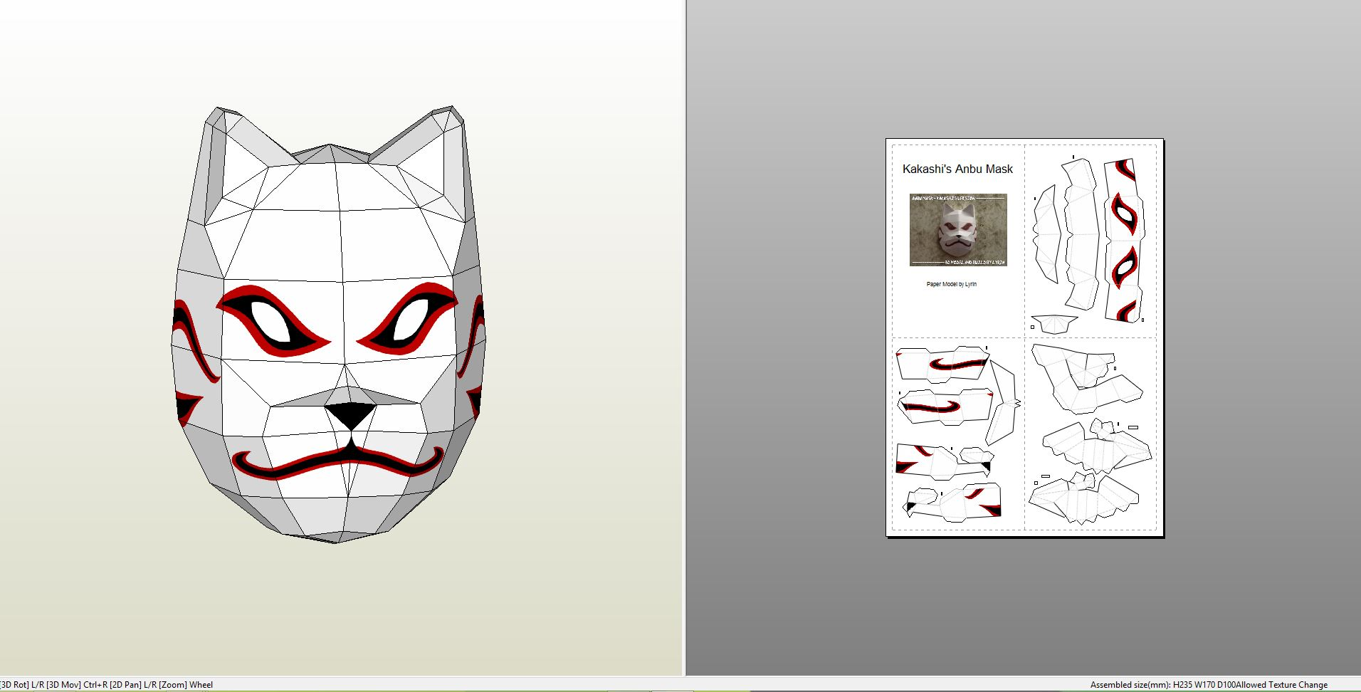 Papercraft .pdo file template for Naruto - Anbu Mask.