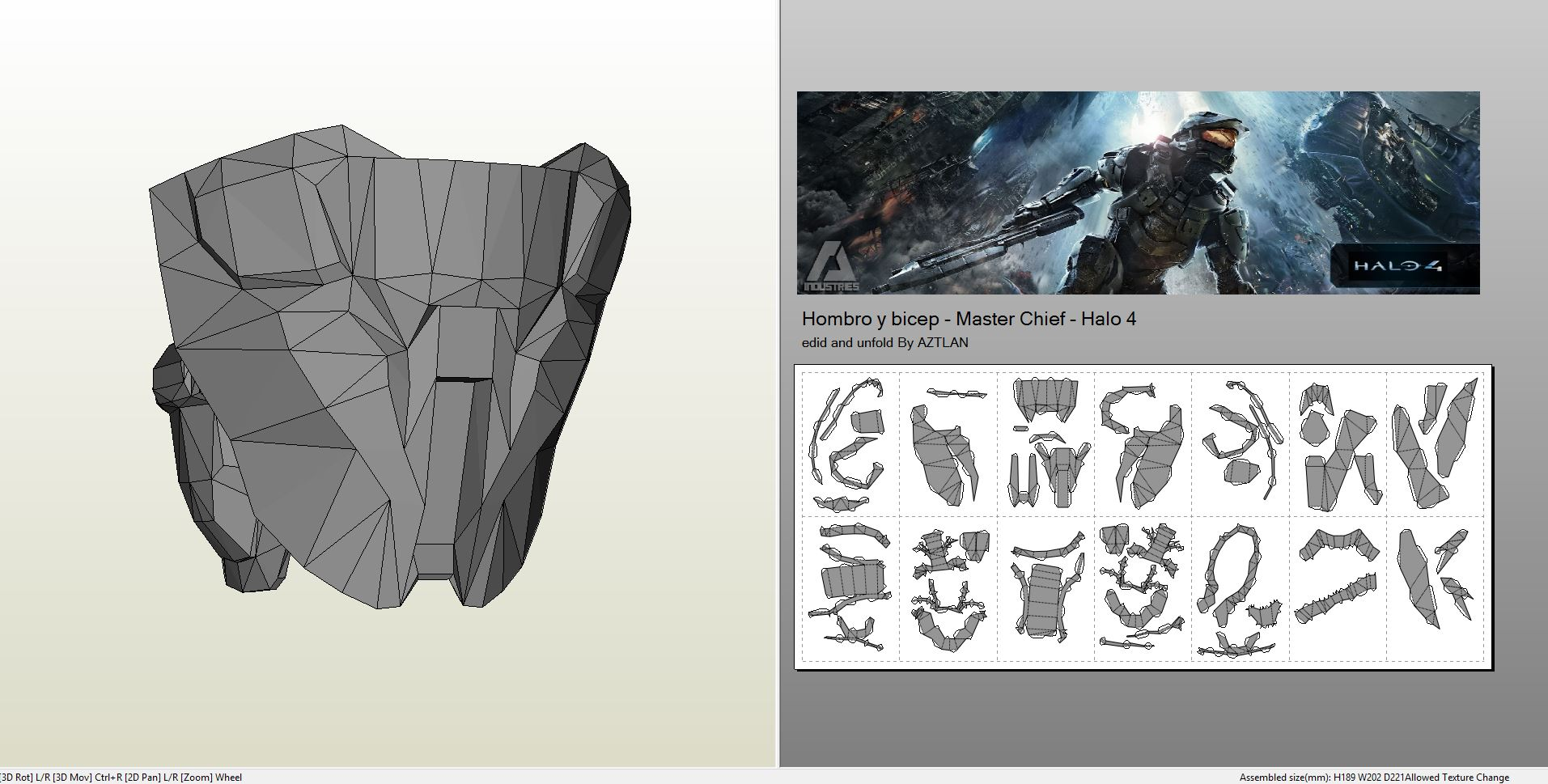 Papercraft  pdo file template for Halo 4 – Masterchief FULL
