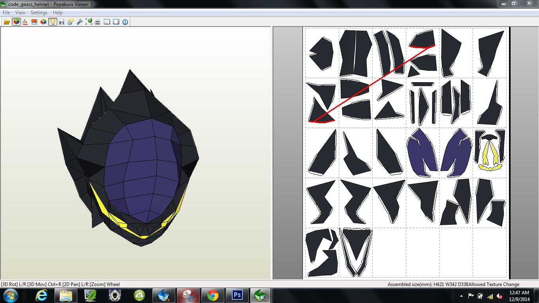 Papercraft .pdo file template for Code Geass - Zero Helmet.