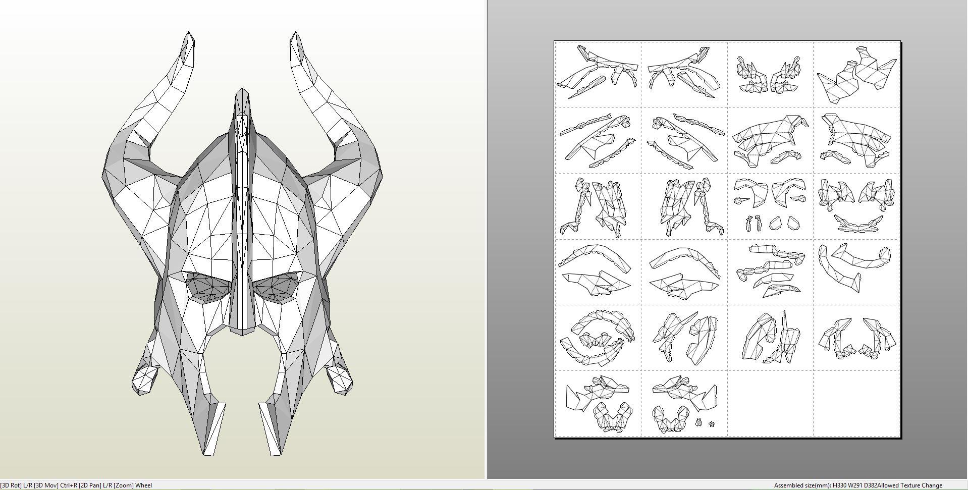 Papercraft pdo file template for skyrim dragon bone helmet dragonbonehelmet pronofoot35fo Image collections
