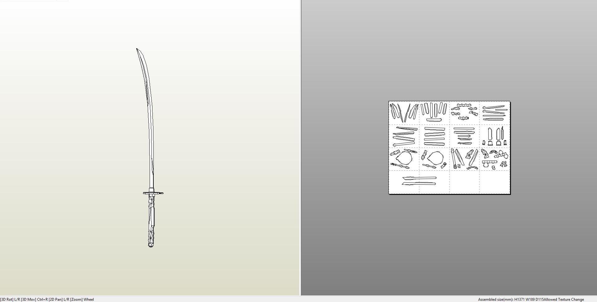 Papercraft .pdo file template for Ebony Blade.
