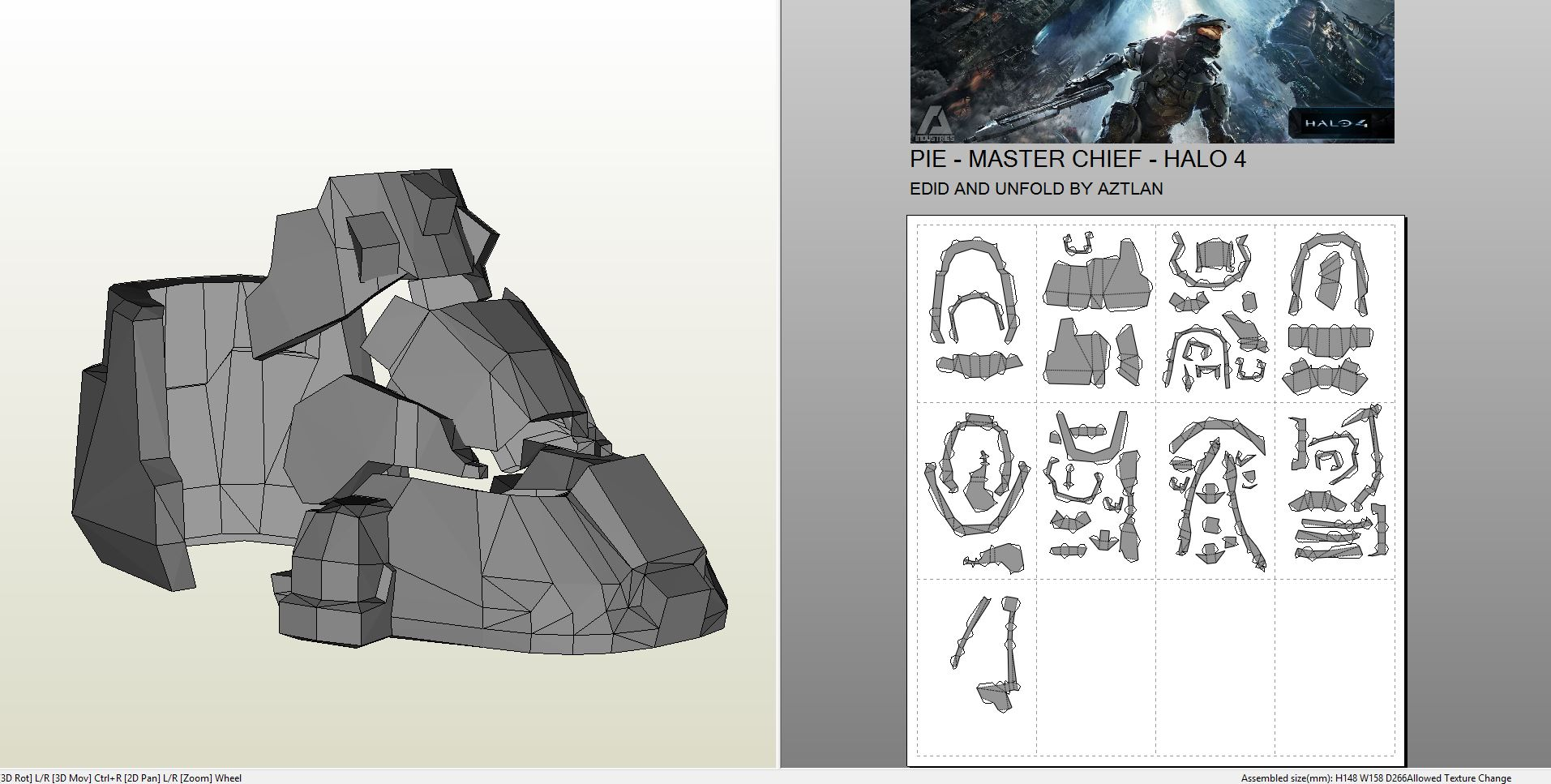 Papercraft .pdo file template for Halo 4 - Masterchief ...