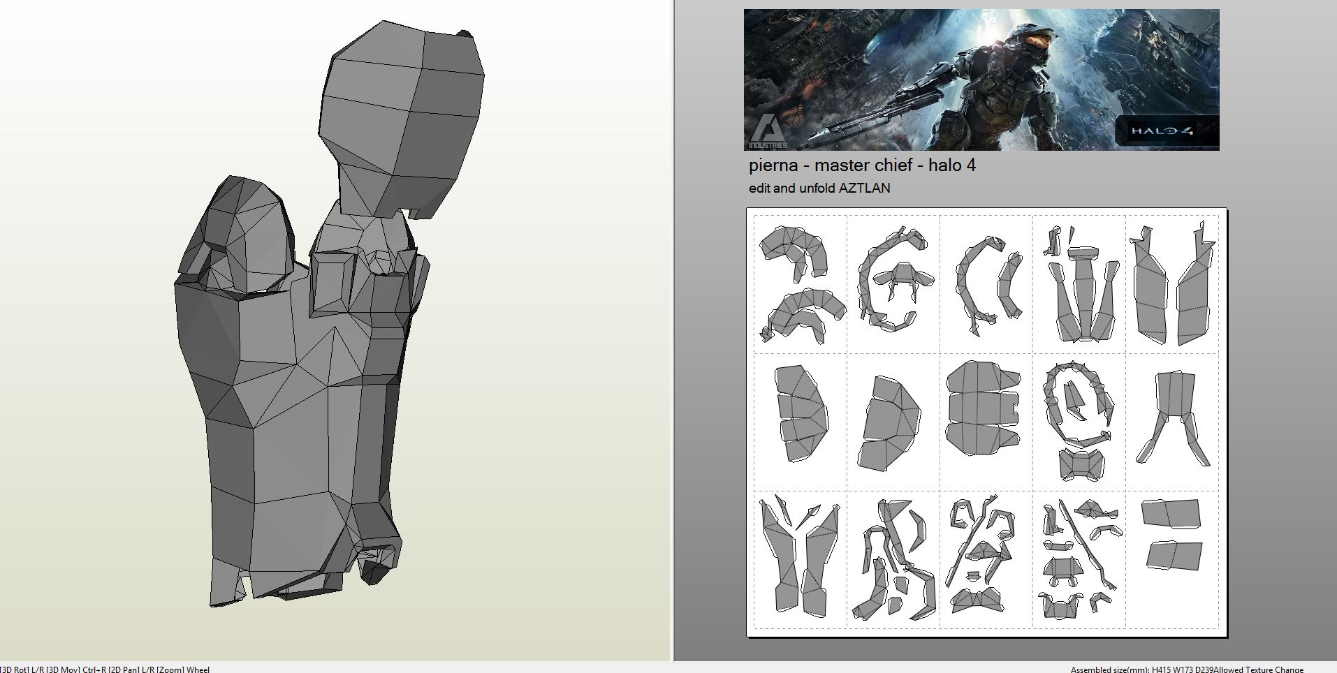 papercraft  pdo file template for halo 4
