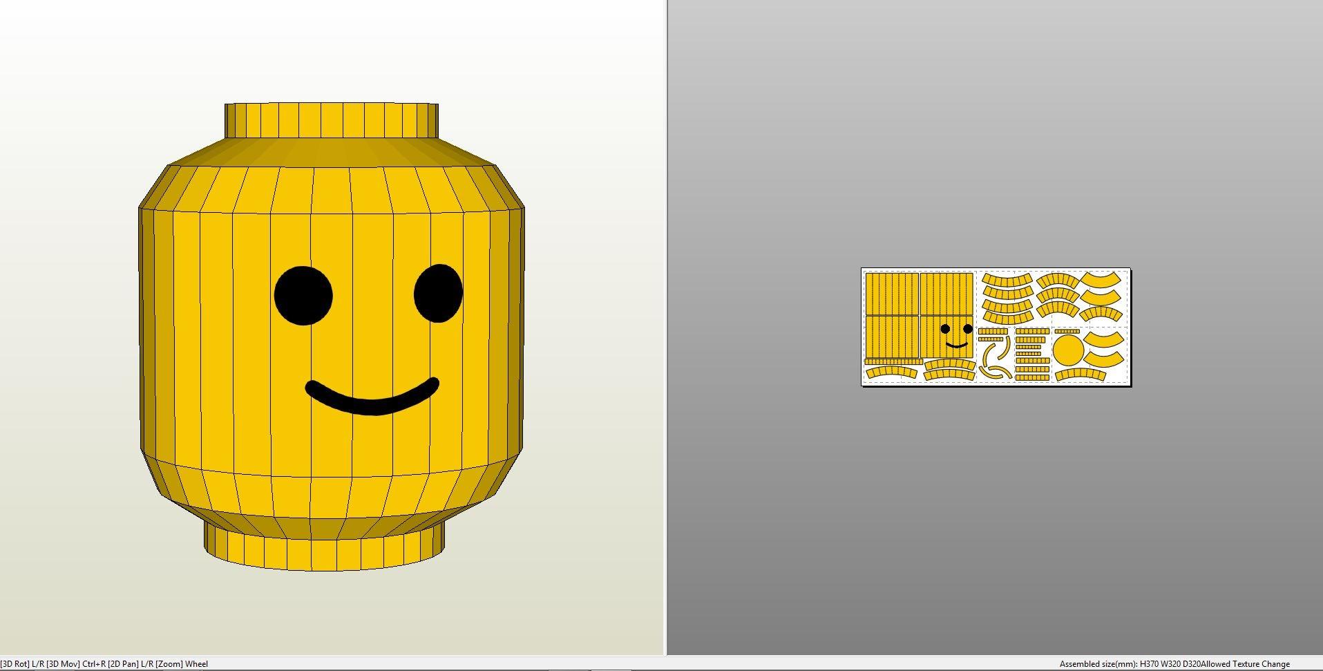 papercraft pdo file template for lego head helmet