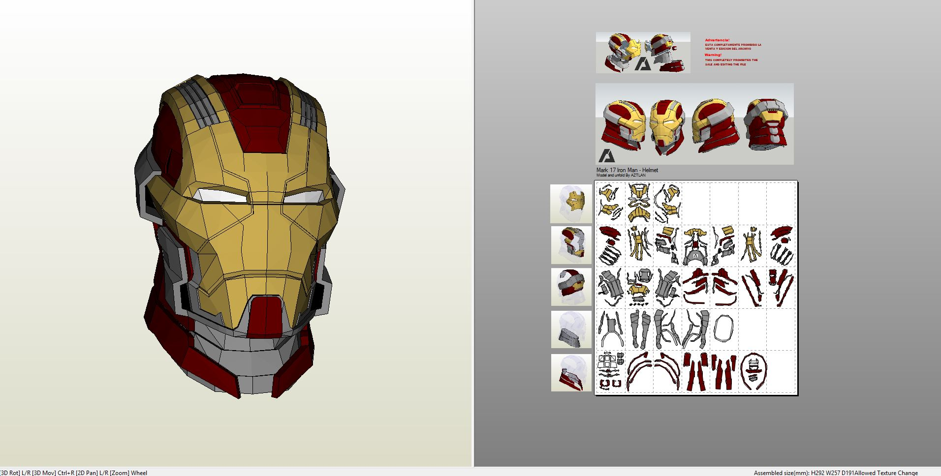 Papercraft .pdo file template for Iron Man - Mark 17 Bust.