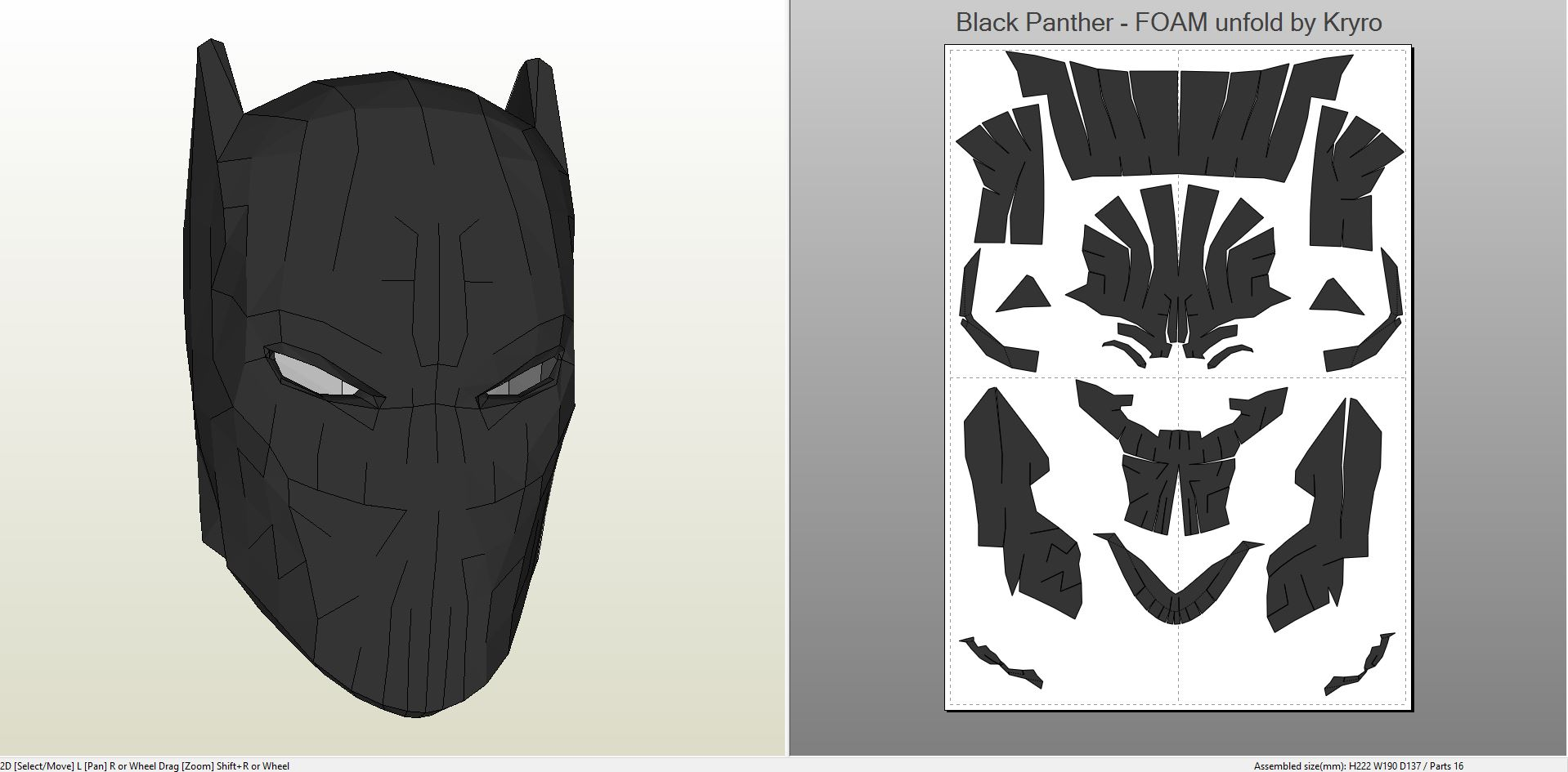 Papercraft Pdo File Template For Black Panther