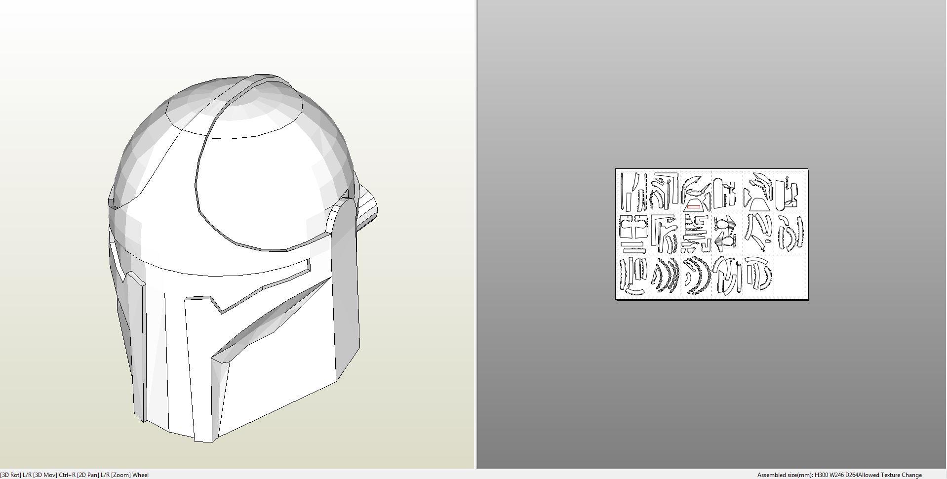 Papercraft Pdo File Template For Star Wars Modified Boba Fett Helmet