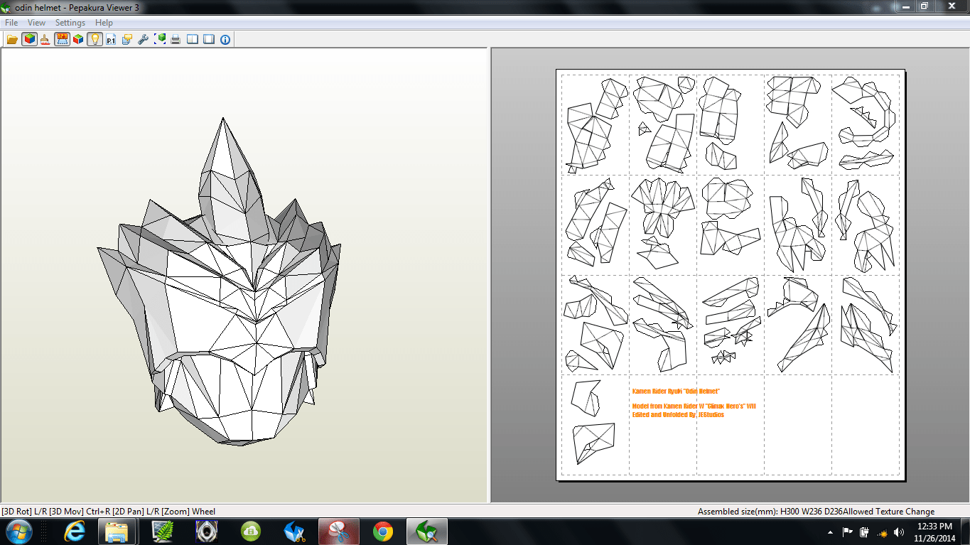 papercraft  pdo file template for kamen rider