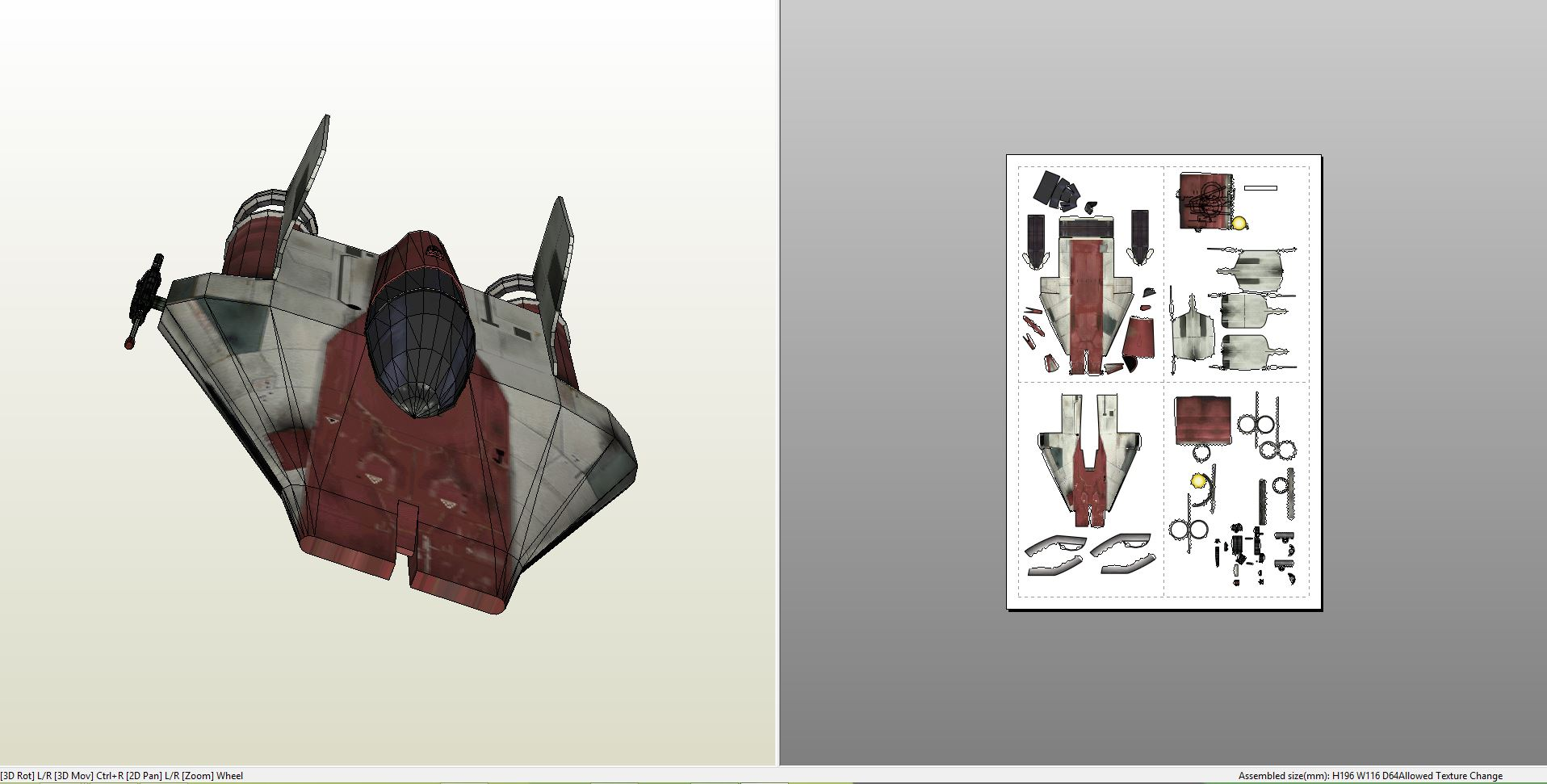 papercraft pdo file template for star wars a wing star fighter. Black Bedroom Furniture Sets. Home Design Ideas