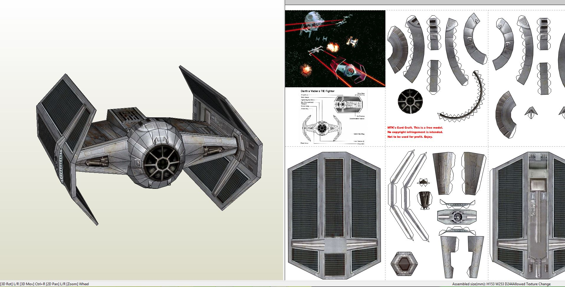 papercraft pdo file template for star wars darth vaders tie fighter. Black Bedroom Furniture Sets. Home Design Ideas