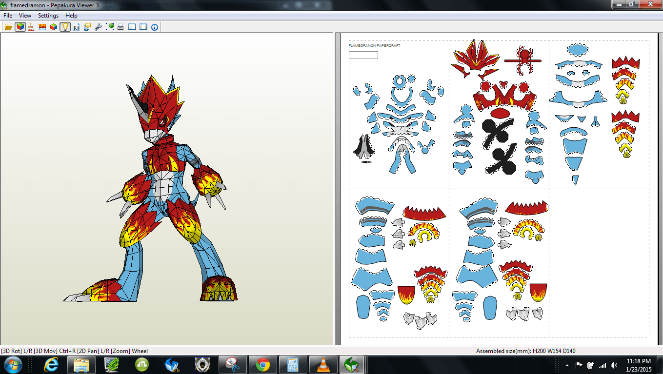 papercraft pdo file template for digimon flamedramon