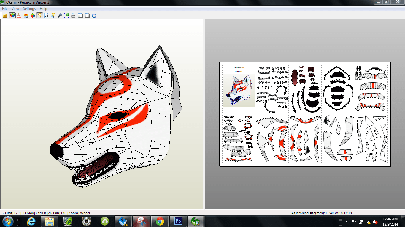 Papercraft Pdo File Template For Okami Amaterasu Mask