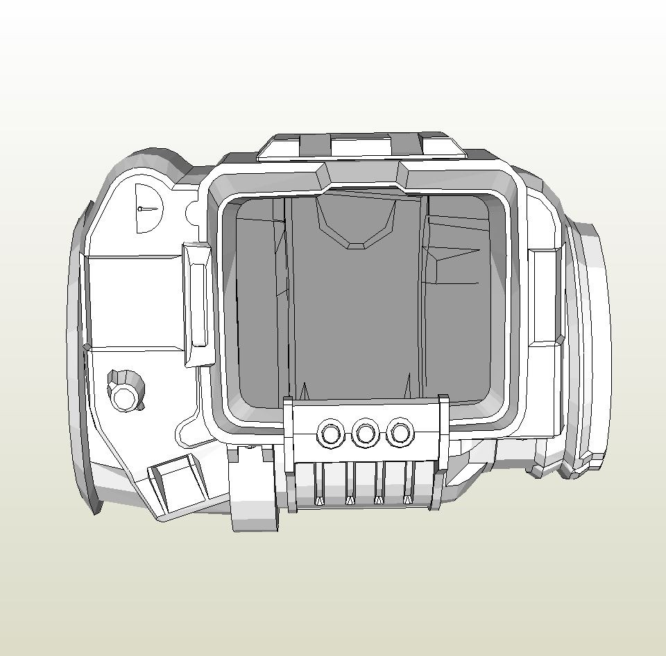 Papercraft .pdo file template for Fallout - Pip Boy 3000.