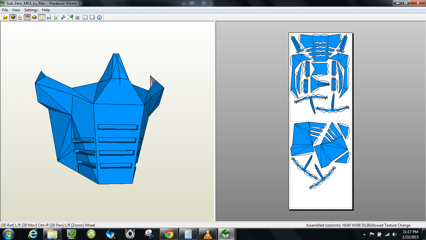 Papercraft  pdo file template for Mortal Kombat 4 – Sub Zero