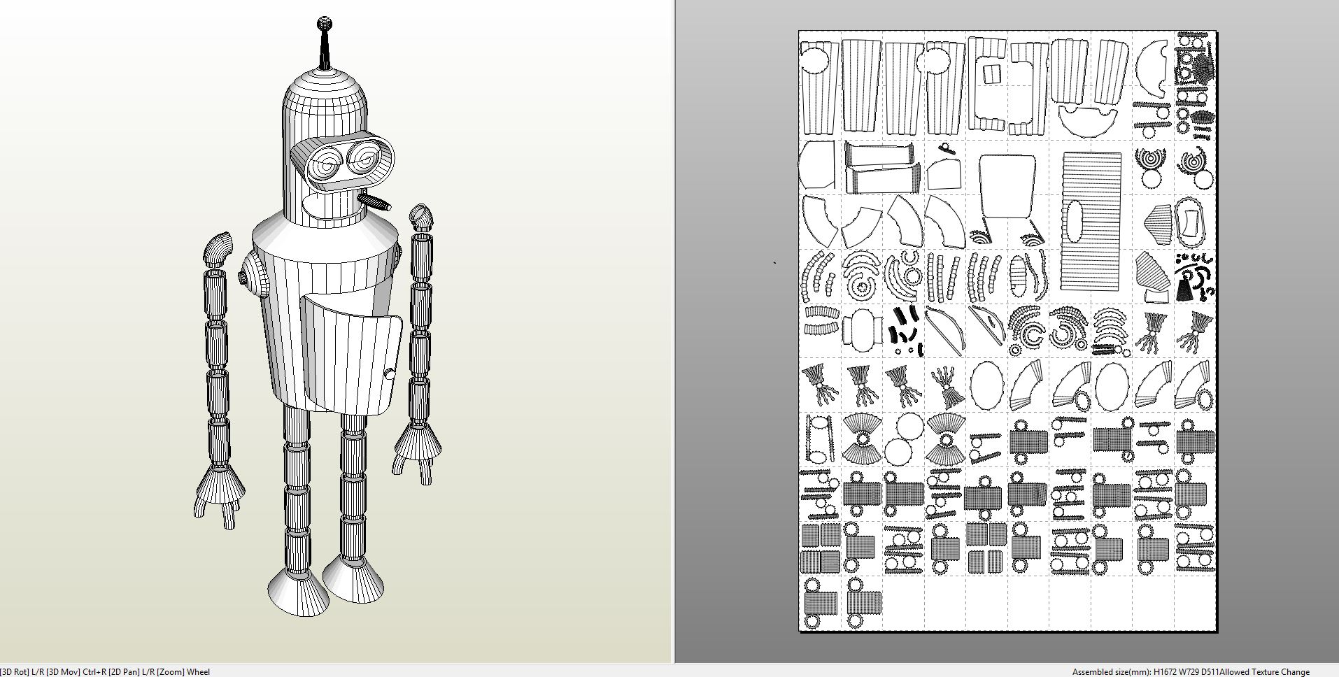 Papercraft Pdo File Template For Futurama Bender Full Size