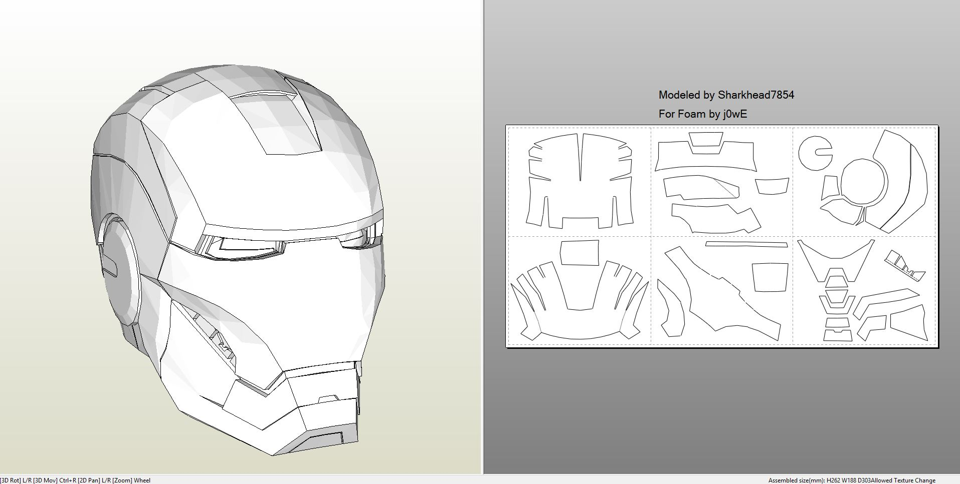 Foamcraft  pdo file template for Iron Man – Mark 4 & 6 Full Armor +