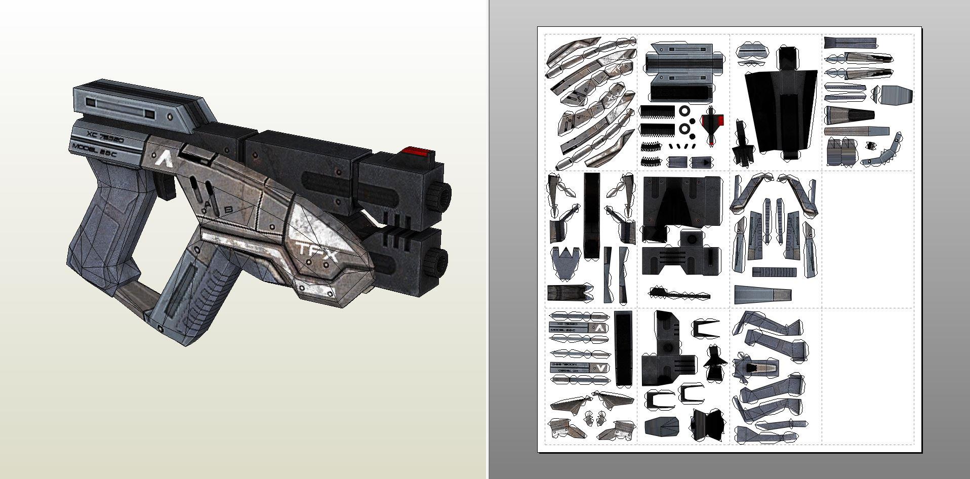 Papercraft .pdo file template for Predator - M3 Pistol.
