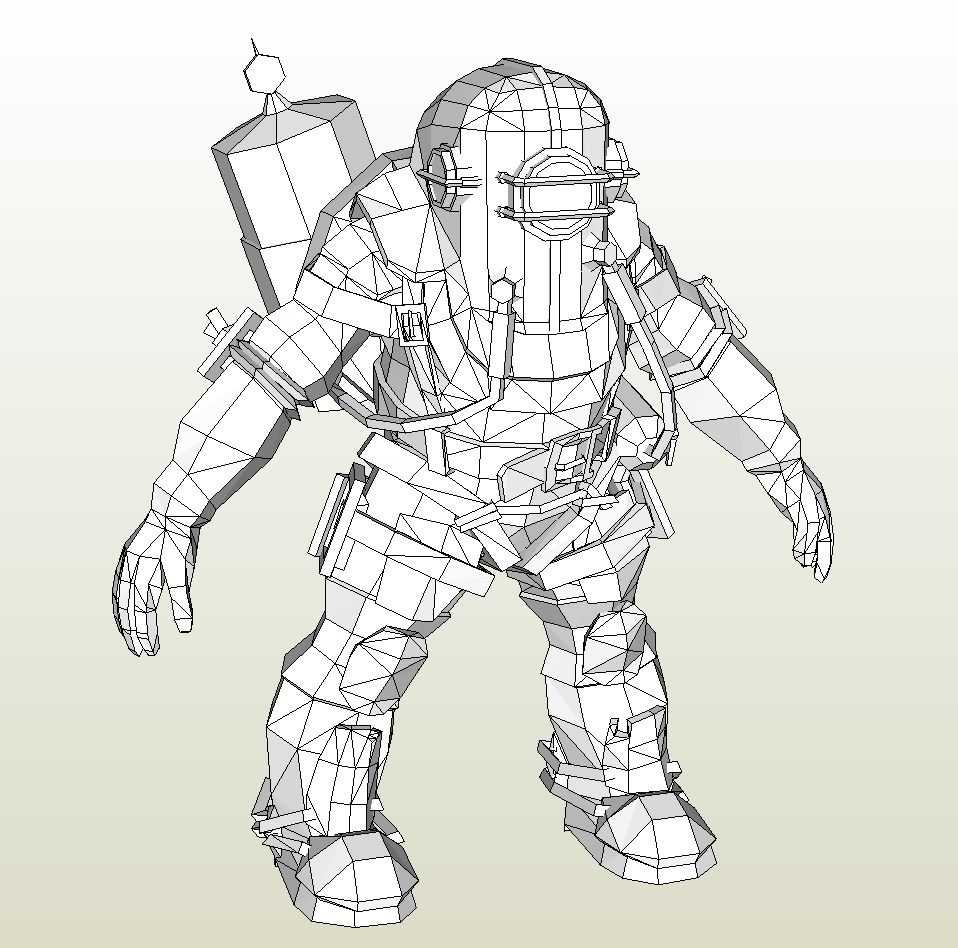 Papercraft Pdo File Template For Bioshock Big Daddy Rosie