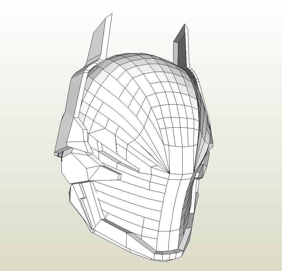 Papercraft pdo file template for batman arkham knight for Paper knight helmet template