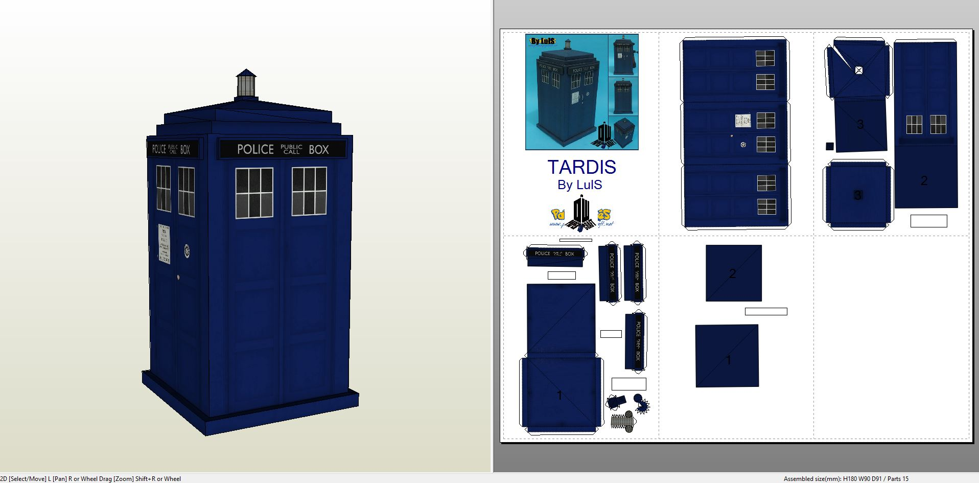 Papercraft .pdo file template for Dr. Who - Tardis.