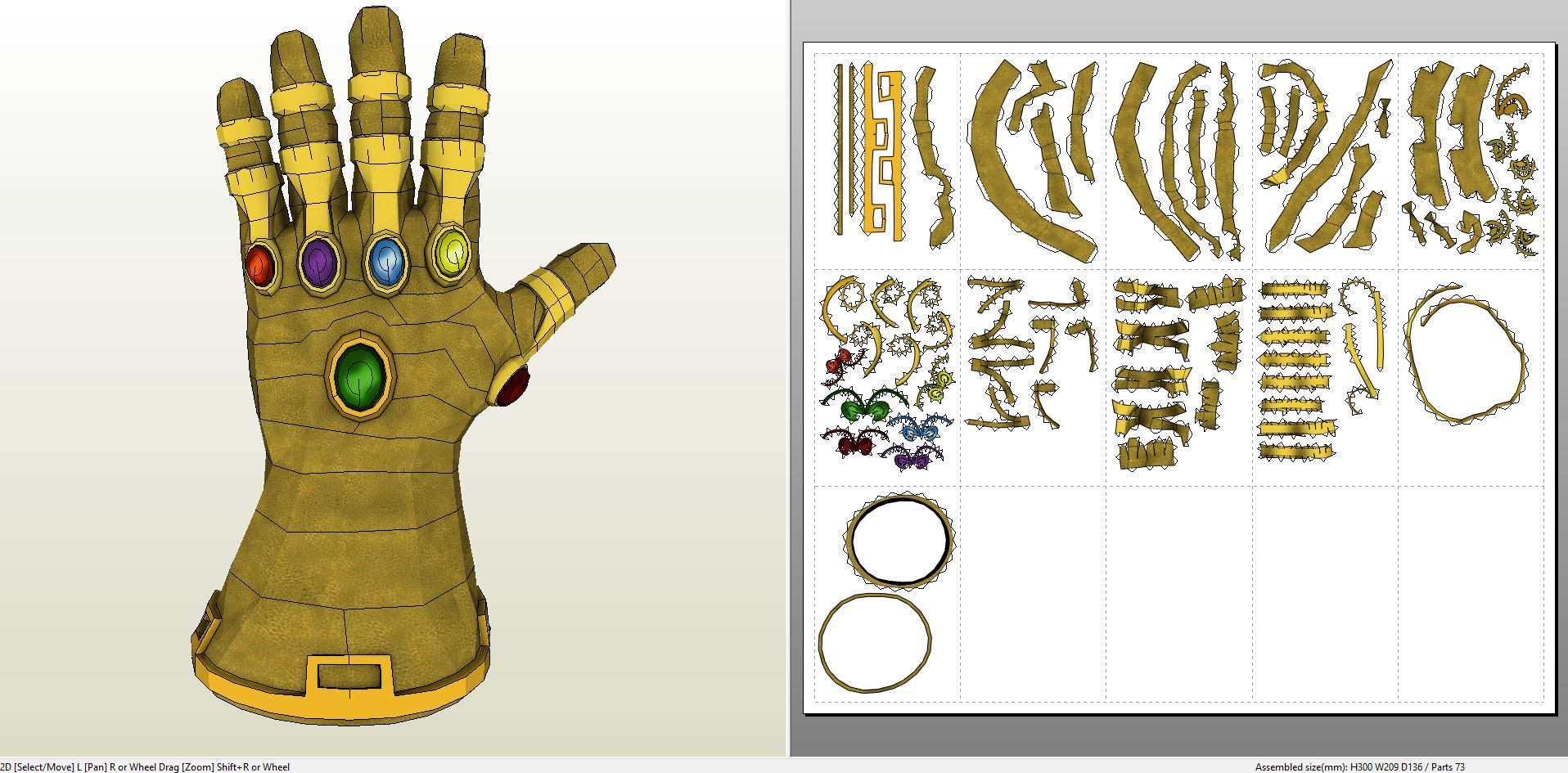 papercraft pdo file template for guardians of the galaxy thanos