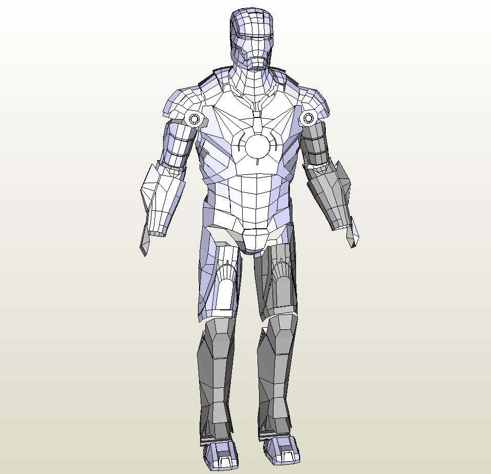 papercraft pdo file template for iron man mk3 lowres