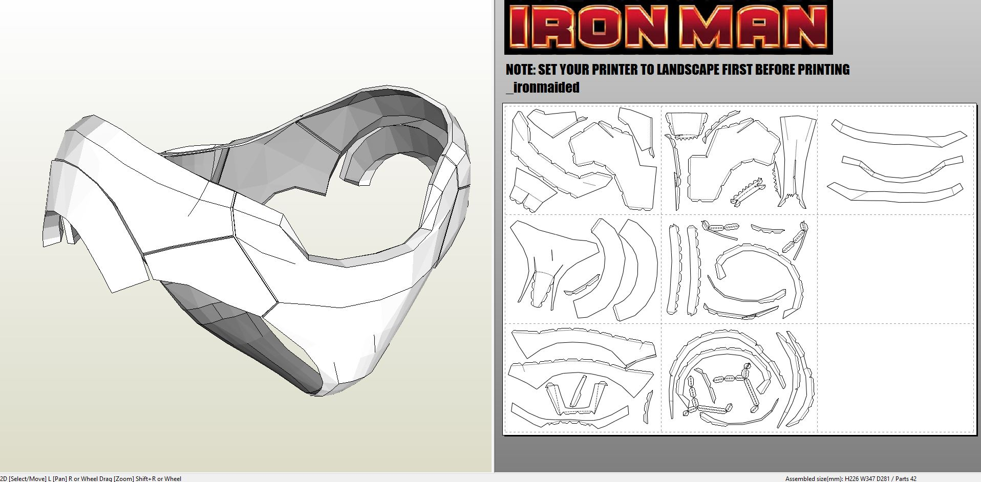 Papercraft pdo file template for iron man mk7 full armor for Iron man foam armor templates