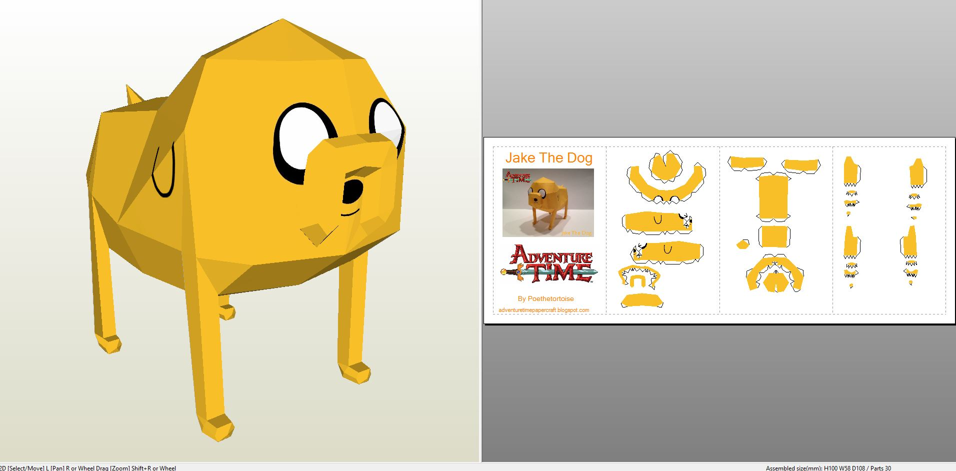 Papercraft Pdo File Template For Adventure Time Jake The Dog
