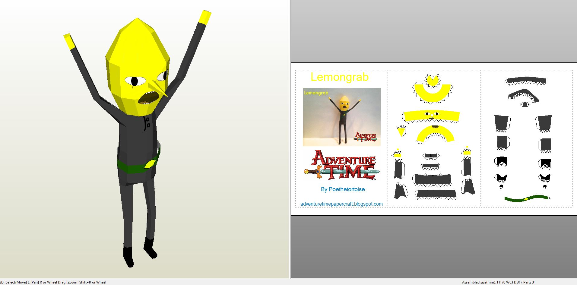 Papercraft Pdo File Template For Adventure Time Lemongrab