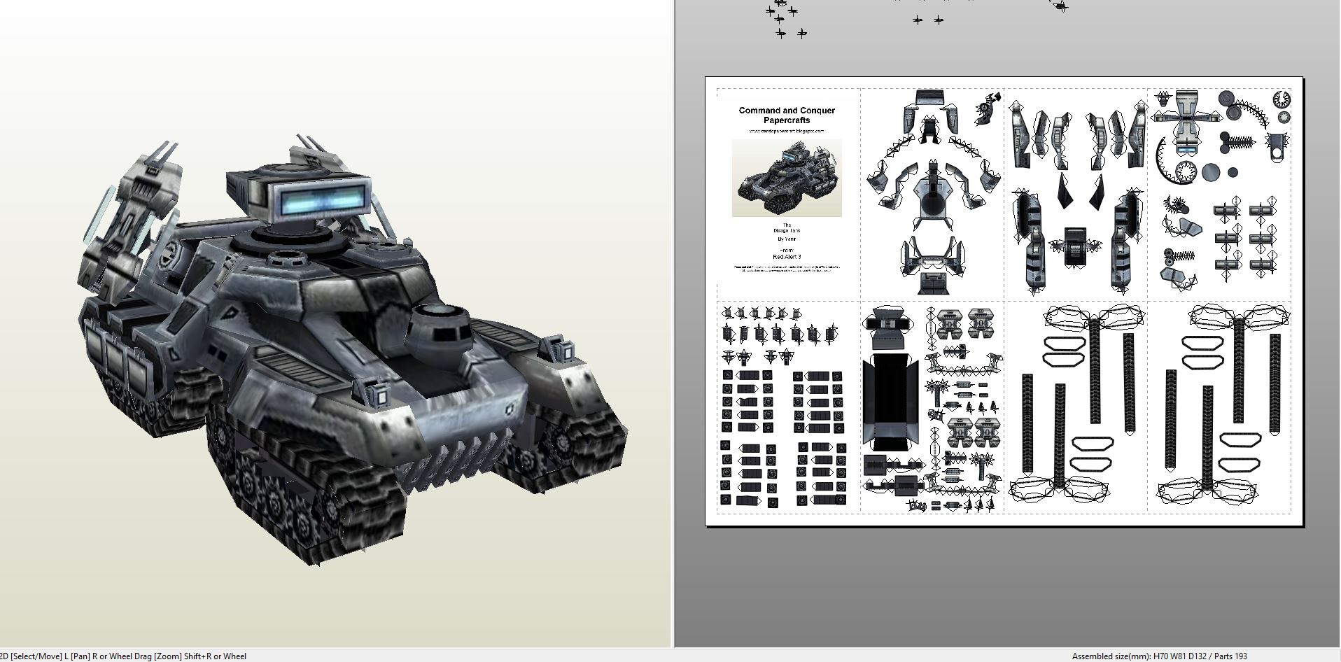 Papercraft  pdo file template for Command & Conquer – Mirage
