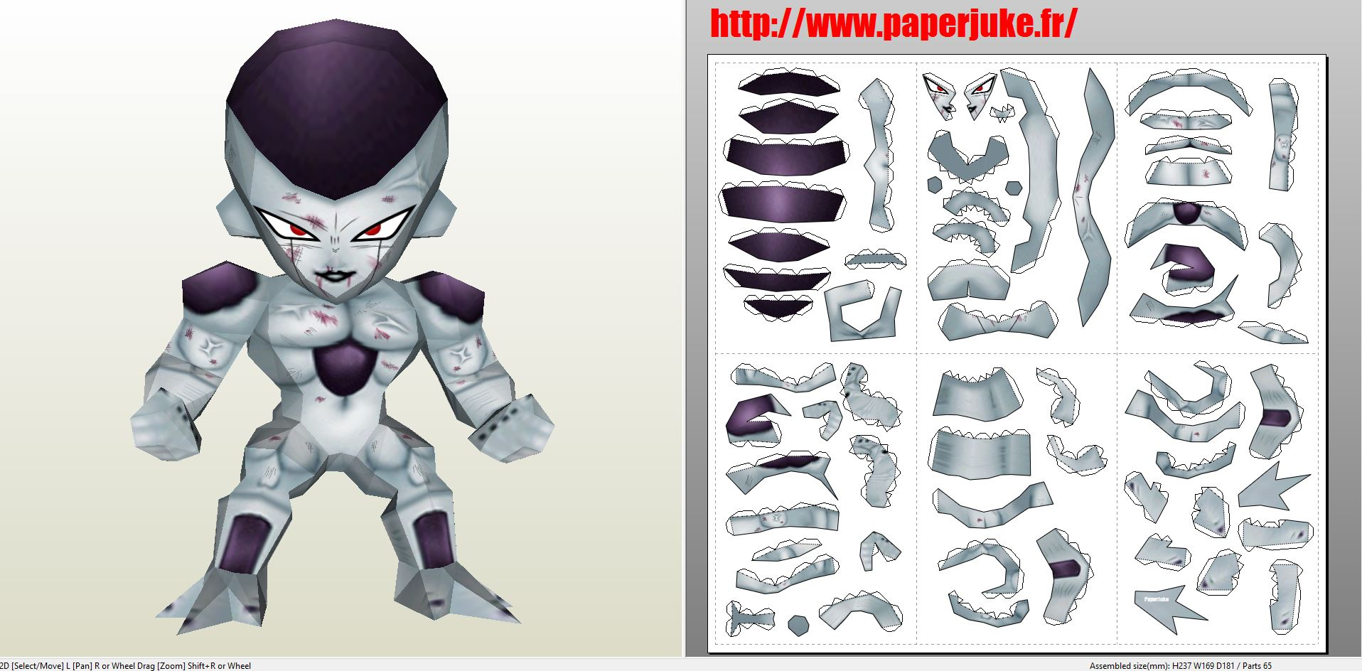 papercraft pdo file template for dragon ball chibi freezer form 4