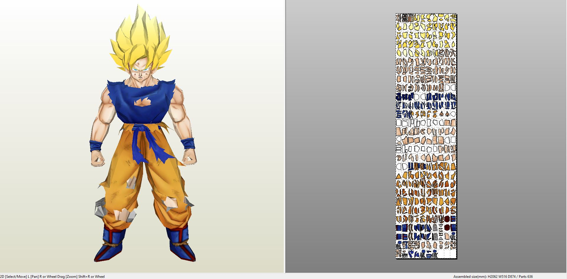 papercraft .pdo file template for dragonball z - life size son goku.