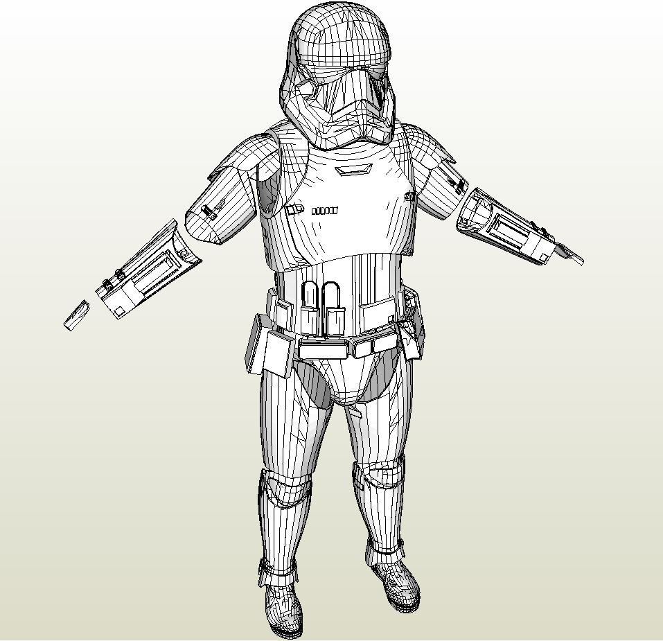 papercraft pdo file template for star wars ep 7 stormtrooper