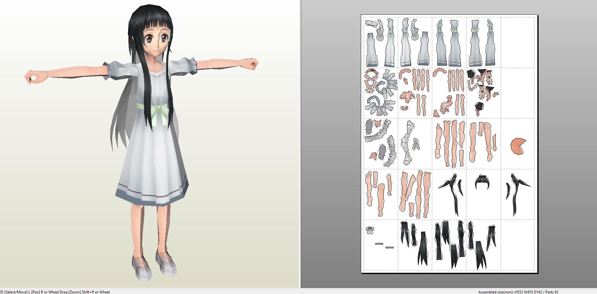 Papercraft .pdo file template for Sword Art Online - Yui V2.