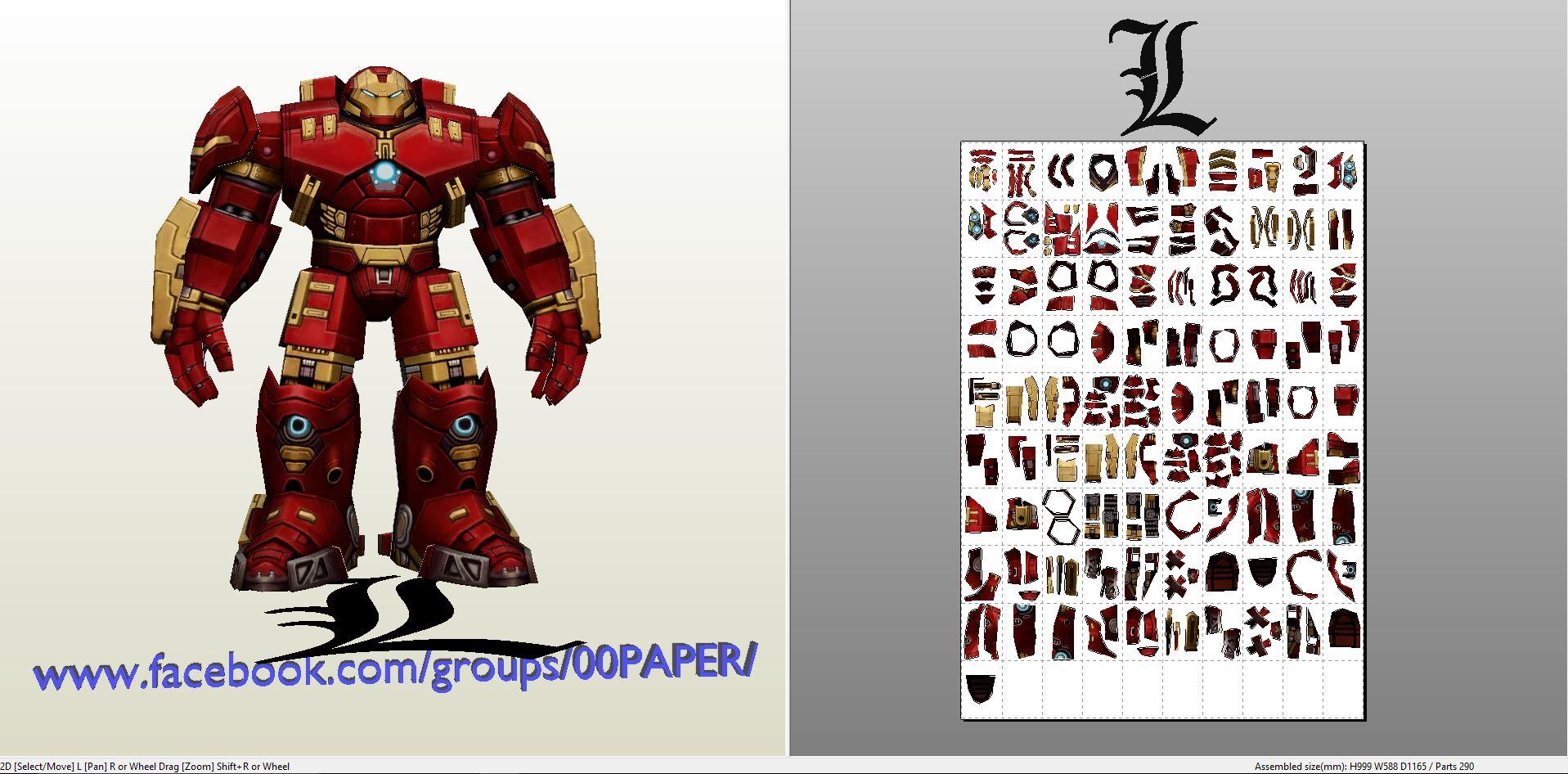 Papercraft .pdo file template for Iron Man - Hulkbuster Figure.
