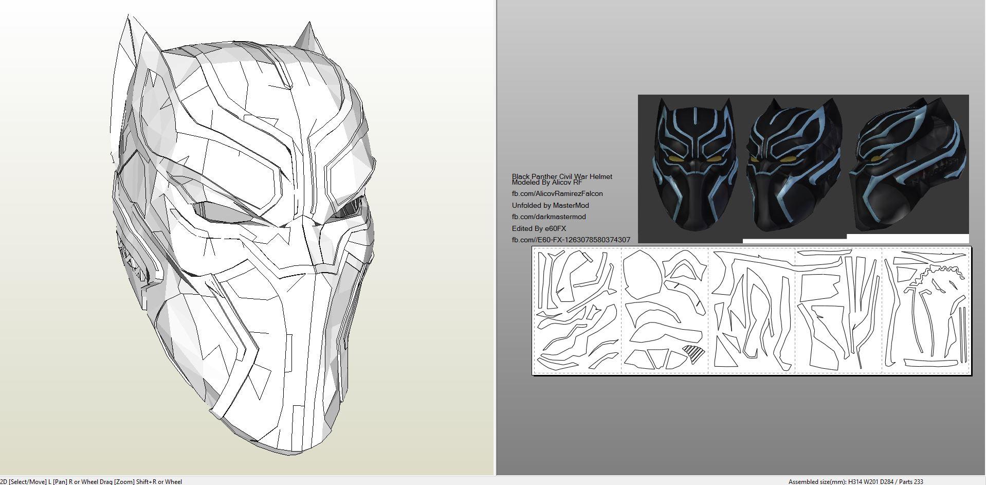 foamcraft pdo file template for black panther civil war helmet