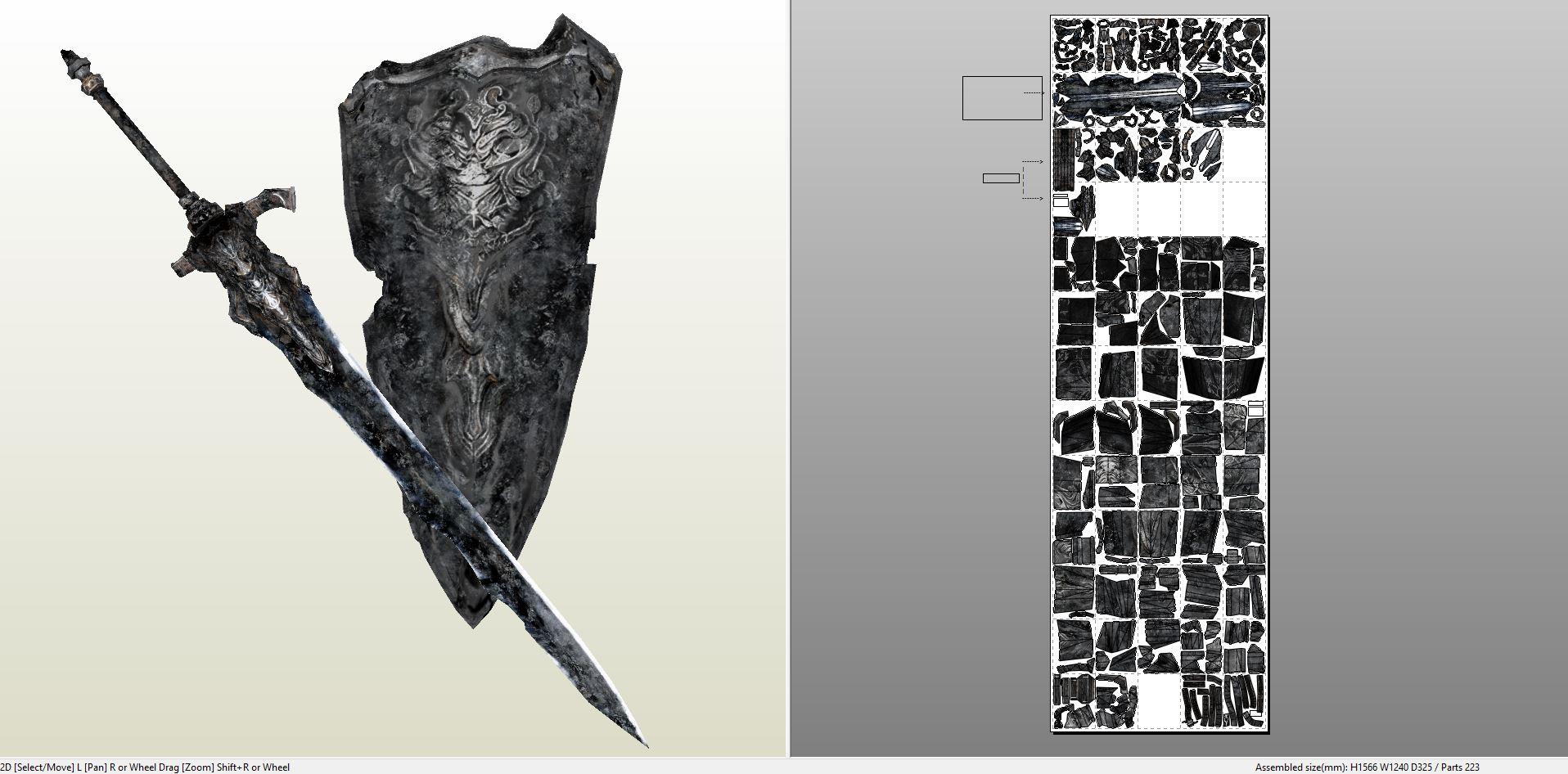 Papercraft pdo file template for dark souls abysswalker weapons darksoulsabyssgreatswordandcleansinggreatshield pronofoot35fo Gallery