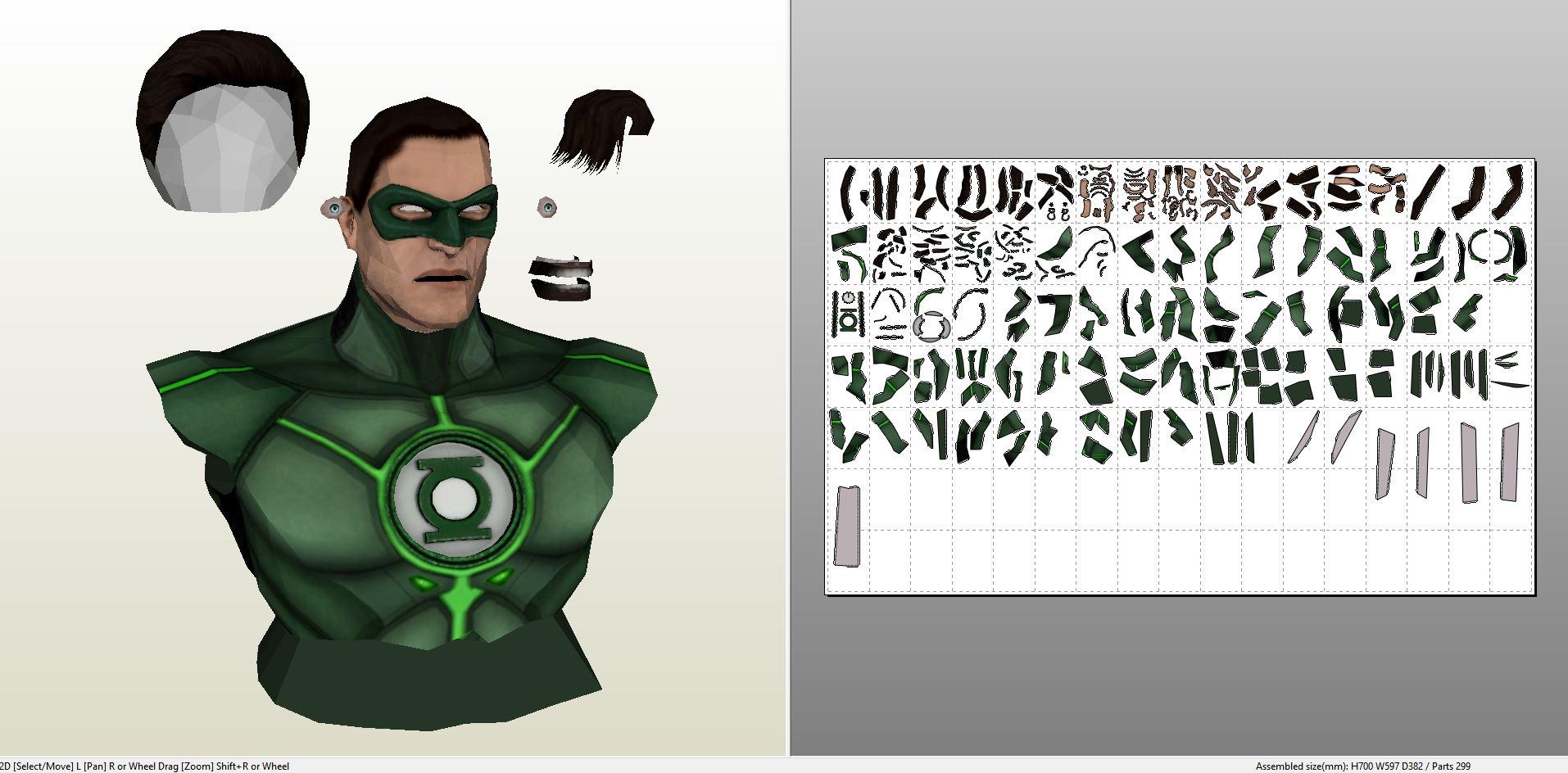 Papercraft .pdo file template for DC Comics - Green Lantern Bust.
