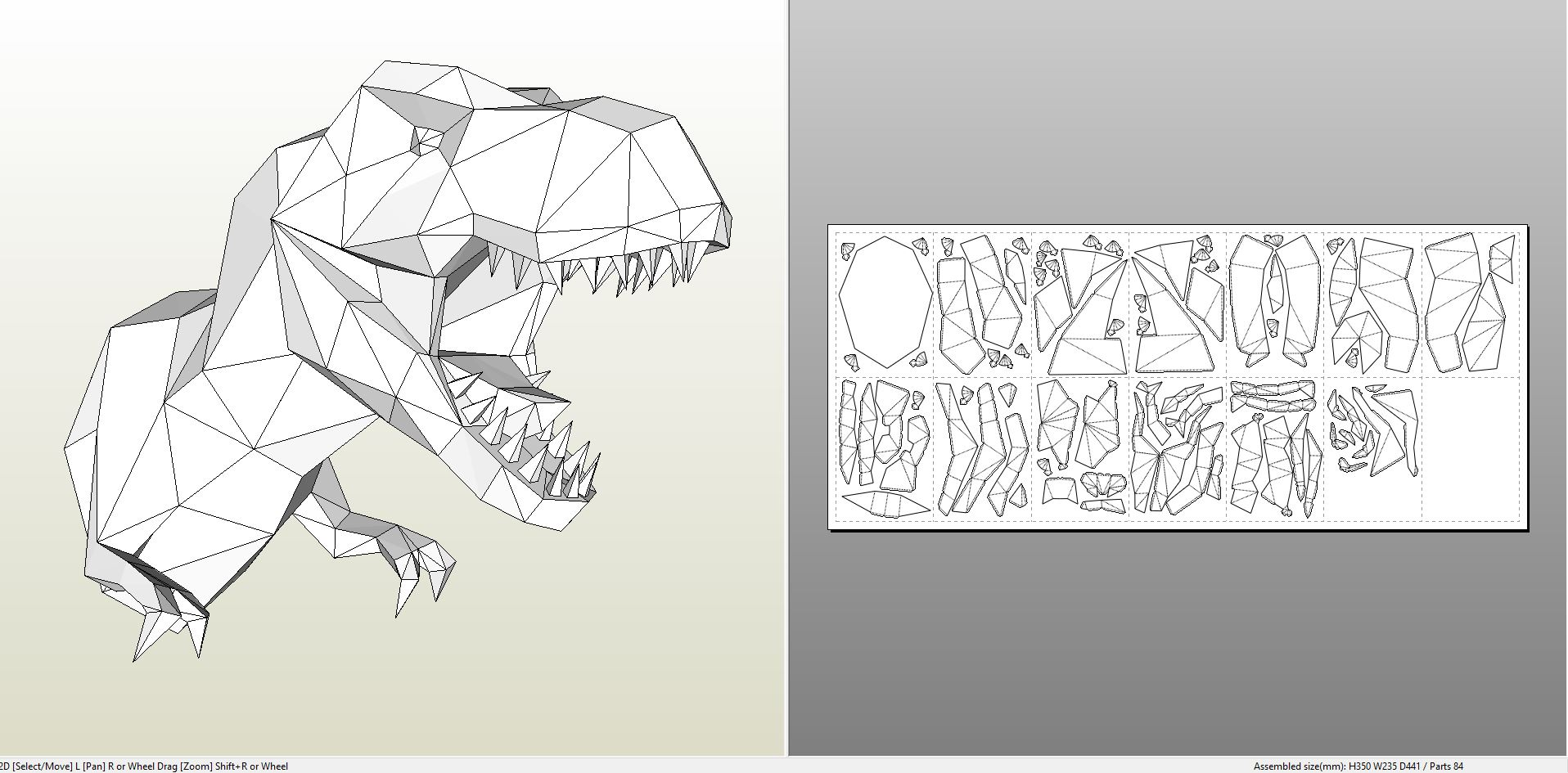 papercraft pdo file template for animal tyrannosaurus wall bust