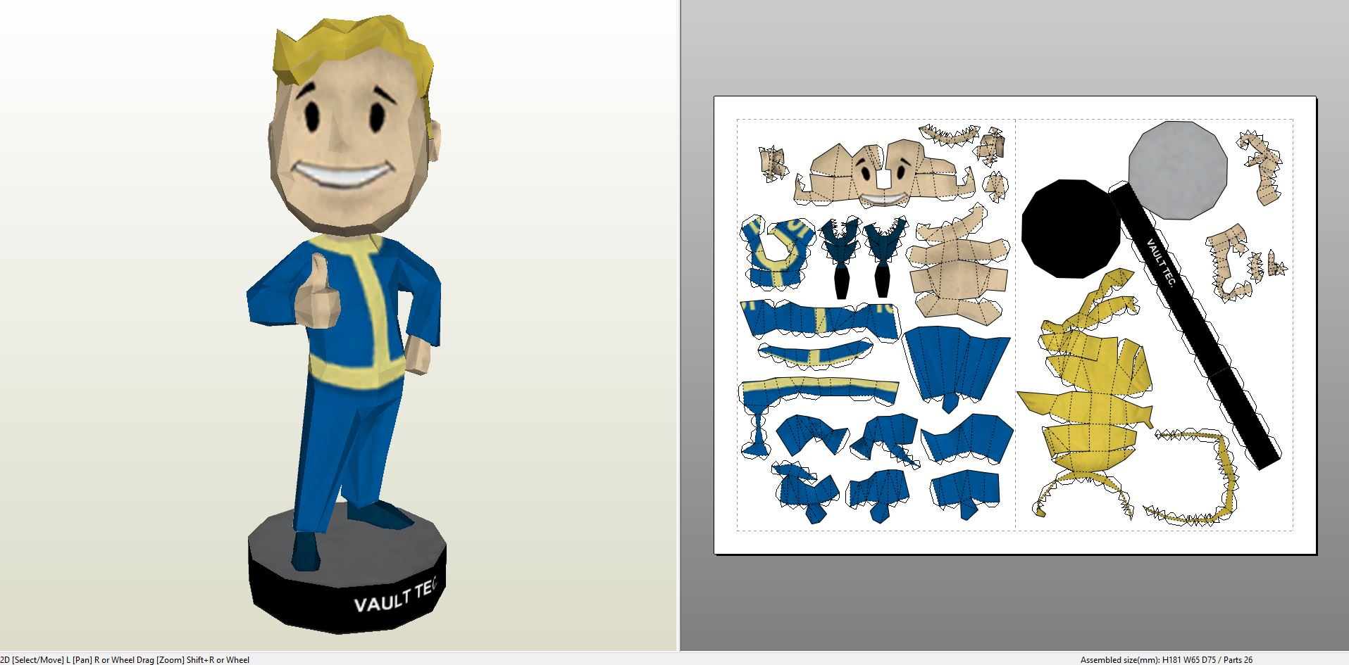 Papercraft .pdo file template for Fallout 3 - Charisma Bobblehead.