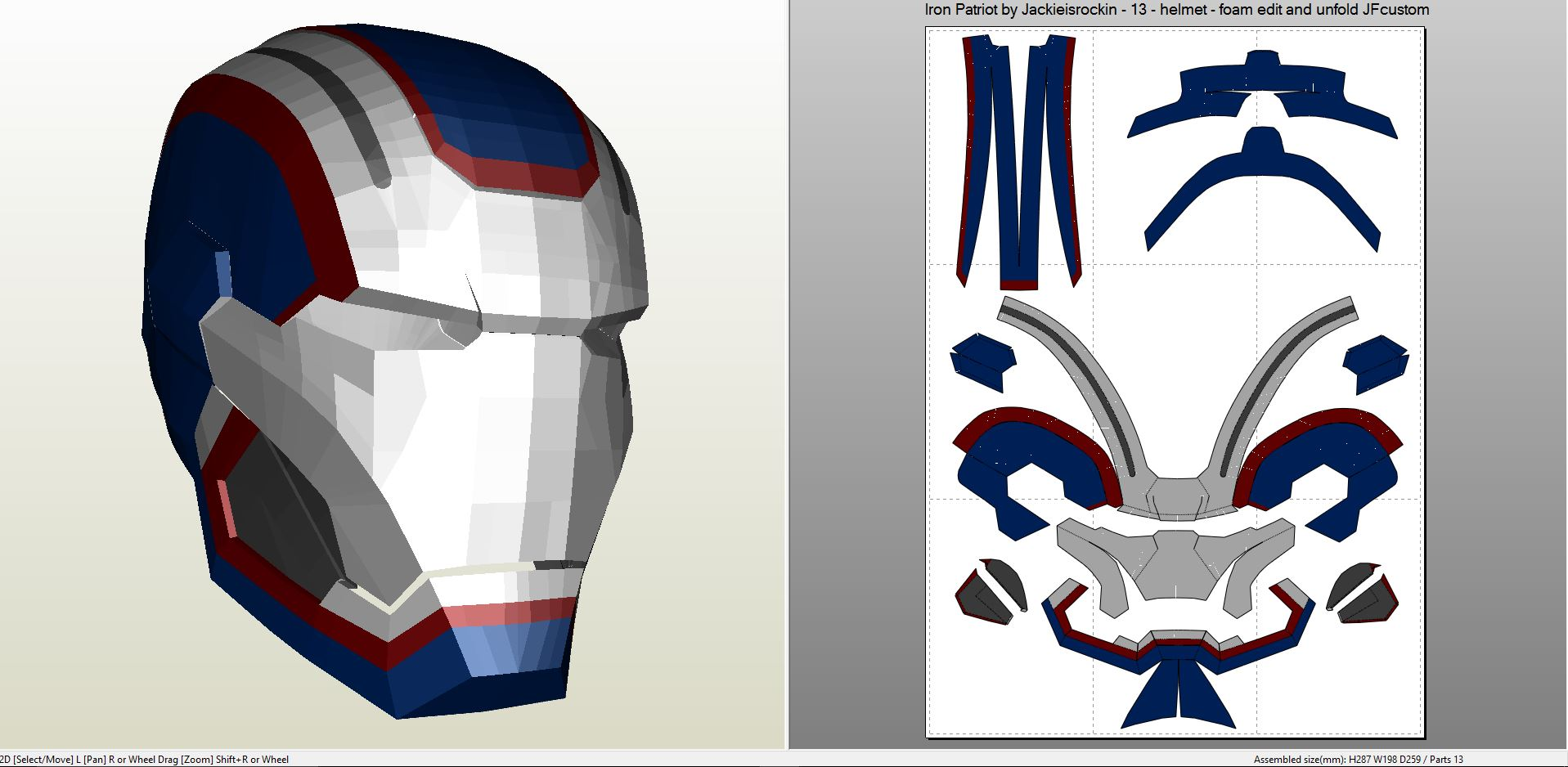 Iron man iron patriot full armor foam for Iron man foam armor templates