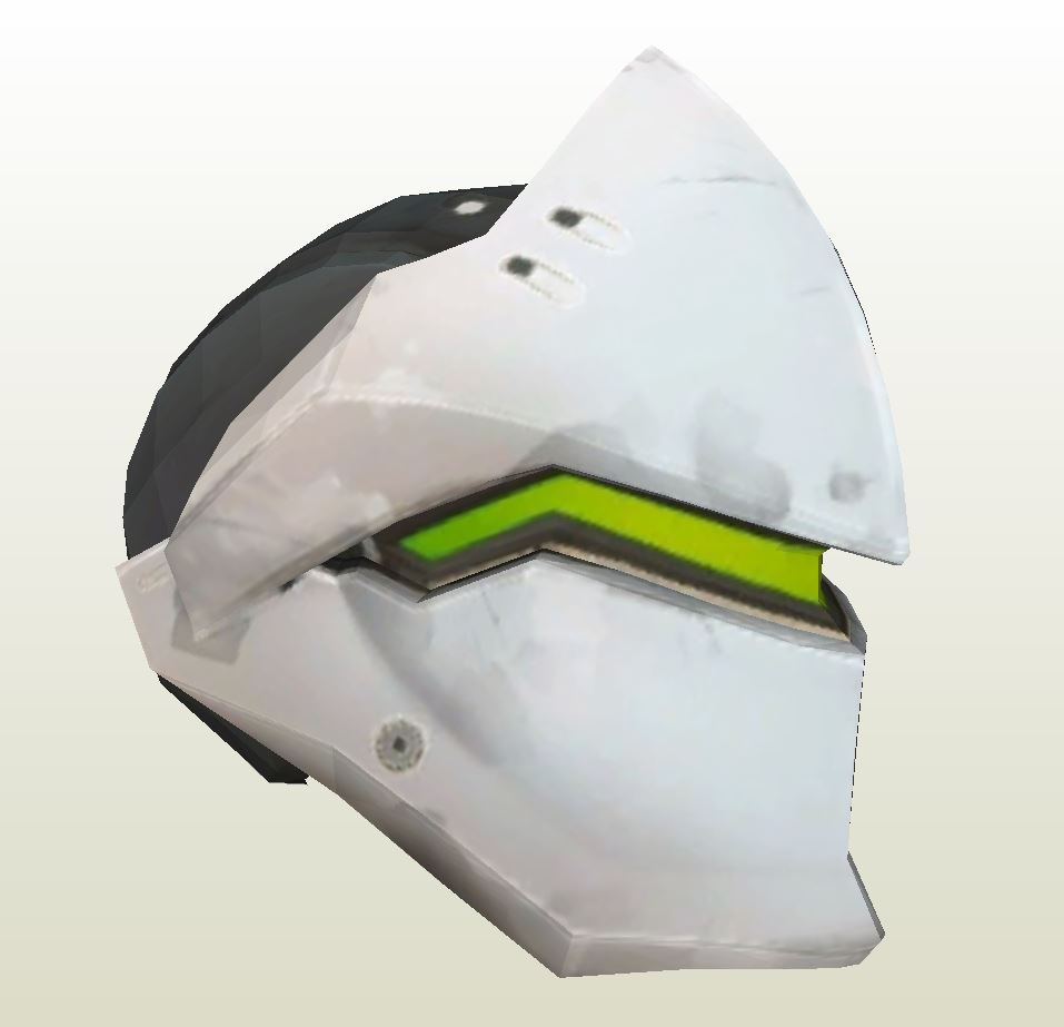 Papercraft Pdo File Template For Overwatch Genji Helmet Helm Monk