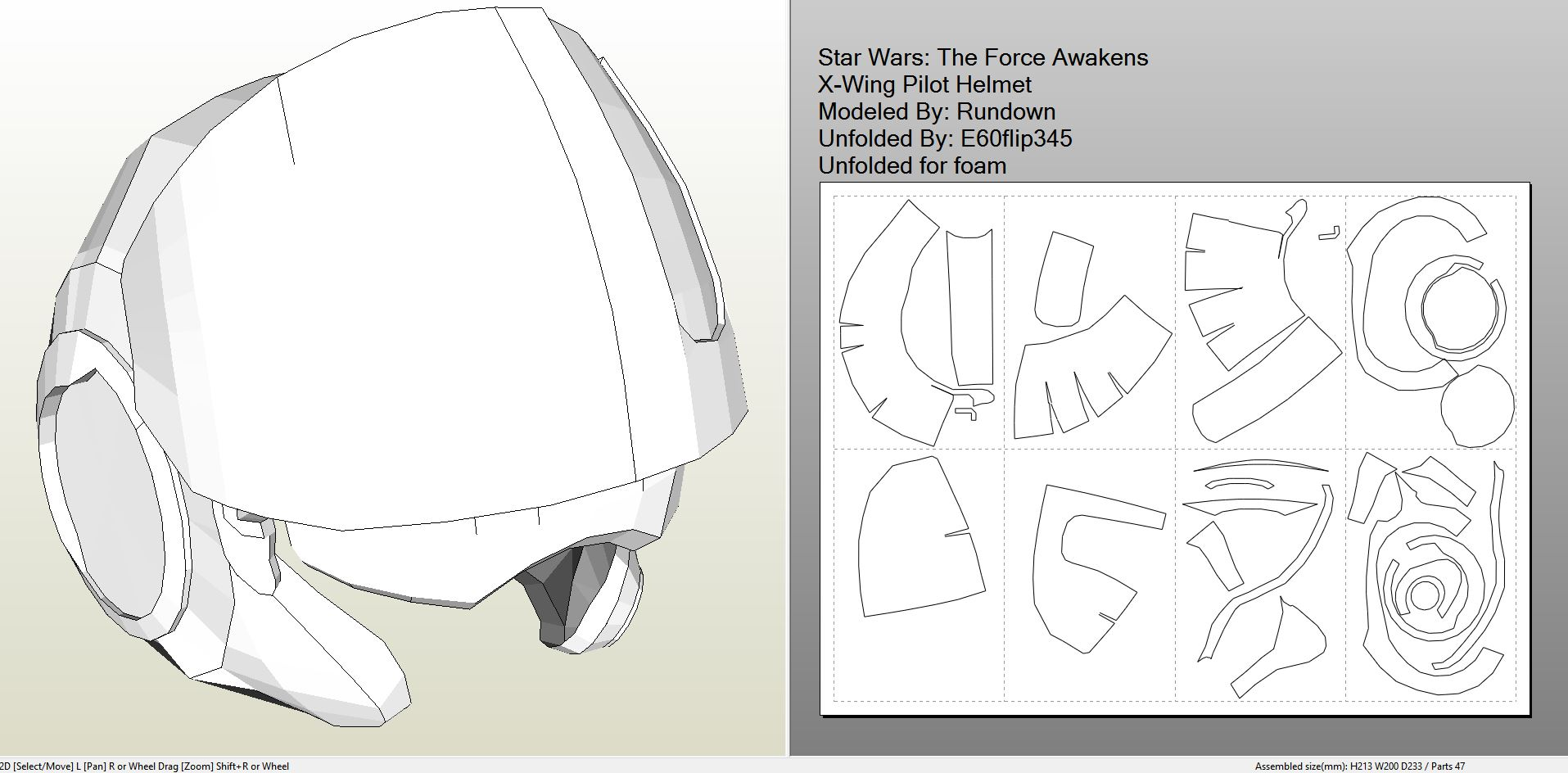 Foamcraft pdo file template for star wars tfa x wing pilot starwarstheforceawakensxwingpilothelmetfoam pronofoot35fo Image collections