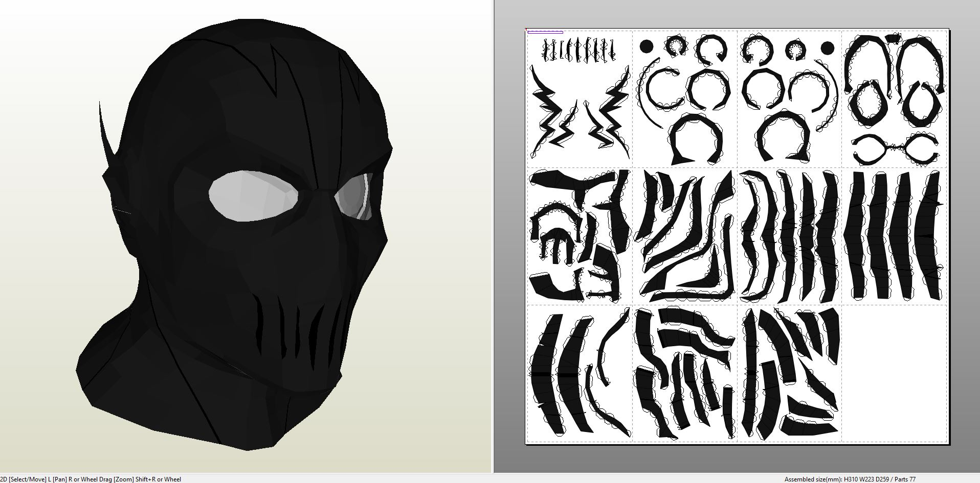 Papercraft .pdo file template for The Flash - Zoom Cowl.